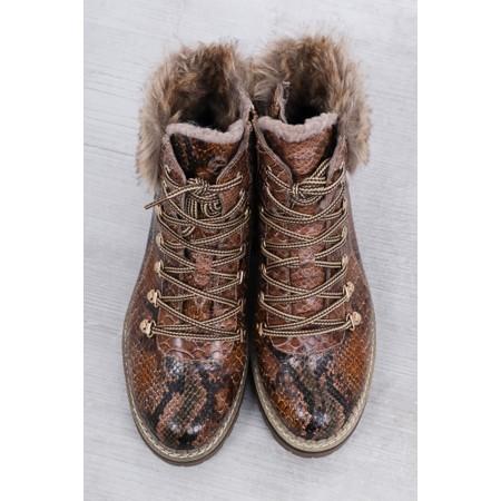 Tamaris  Adalena Snake Print Tex Hiker Boot  - Brown