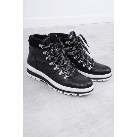 Tamaris  Colonia Croc Leather Hiker Boot  - Black