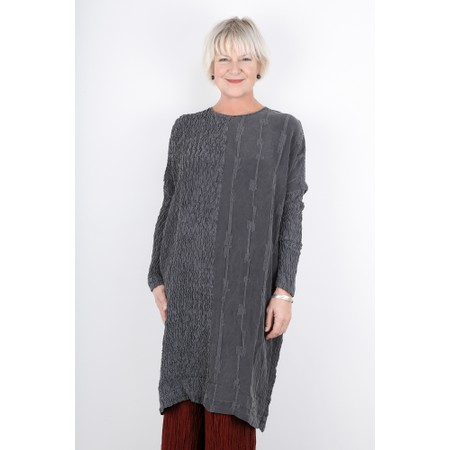 Grizas Malvina Crinkle Contrast Silk Tunic Dress - Grey
