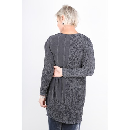 Grizas Albina Crinkle Contrast Silk Tunic Top - Grey