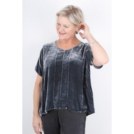 Grizas Caren Drape Velvet Top  - Grey