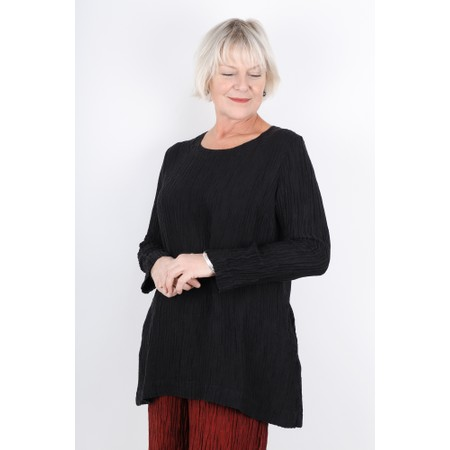 Grizas Karolina Round Neck Tunic Top With Pockets - Black