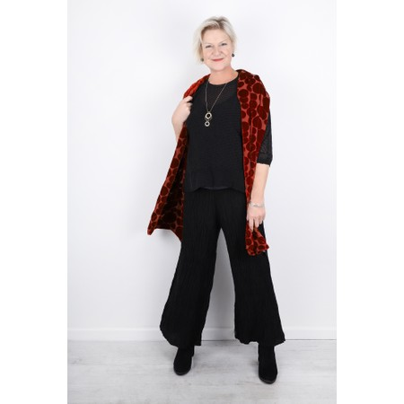Grizas Gvidas Silk Crinkle Wide Leg Cullotte Trousers - Black