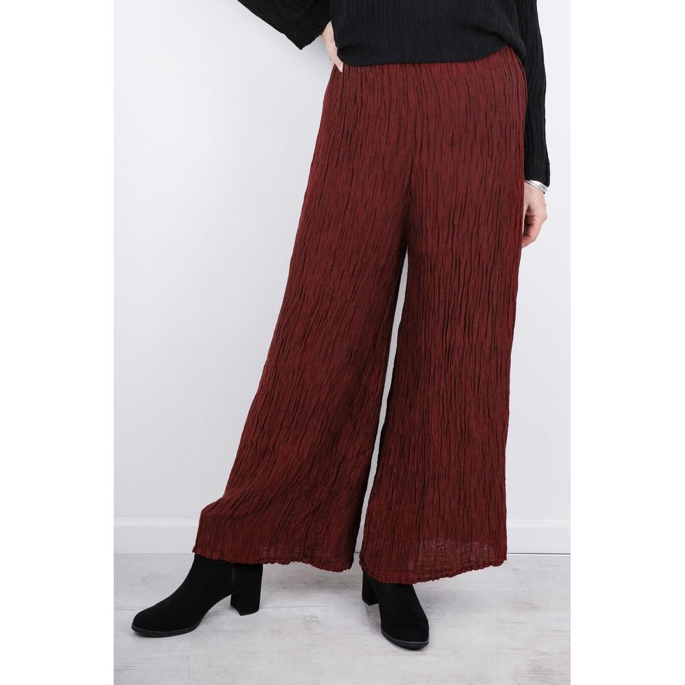 Grizas Gvidas Silk Crinkle Wide Leg Cullotte Trousers Burgundy 175