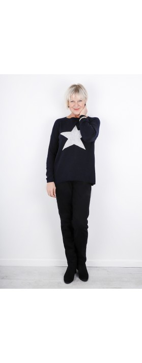 Luella Classic Star Cashmere Blend Jumper Navy / Grey