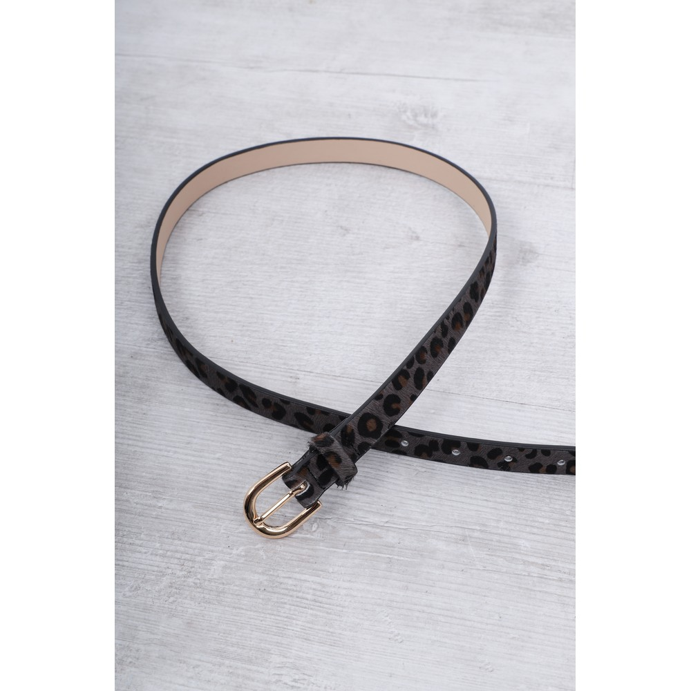 Gemini Label Accessories Zimba Narrow Belt Grey Leopard