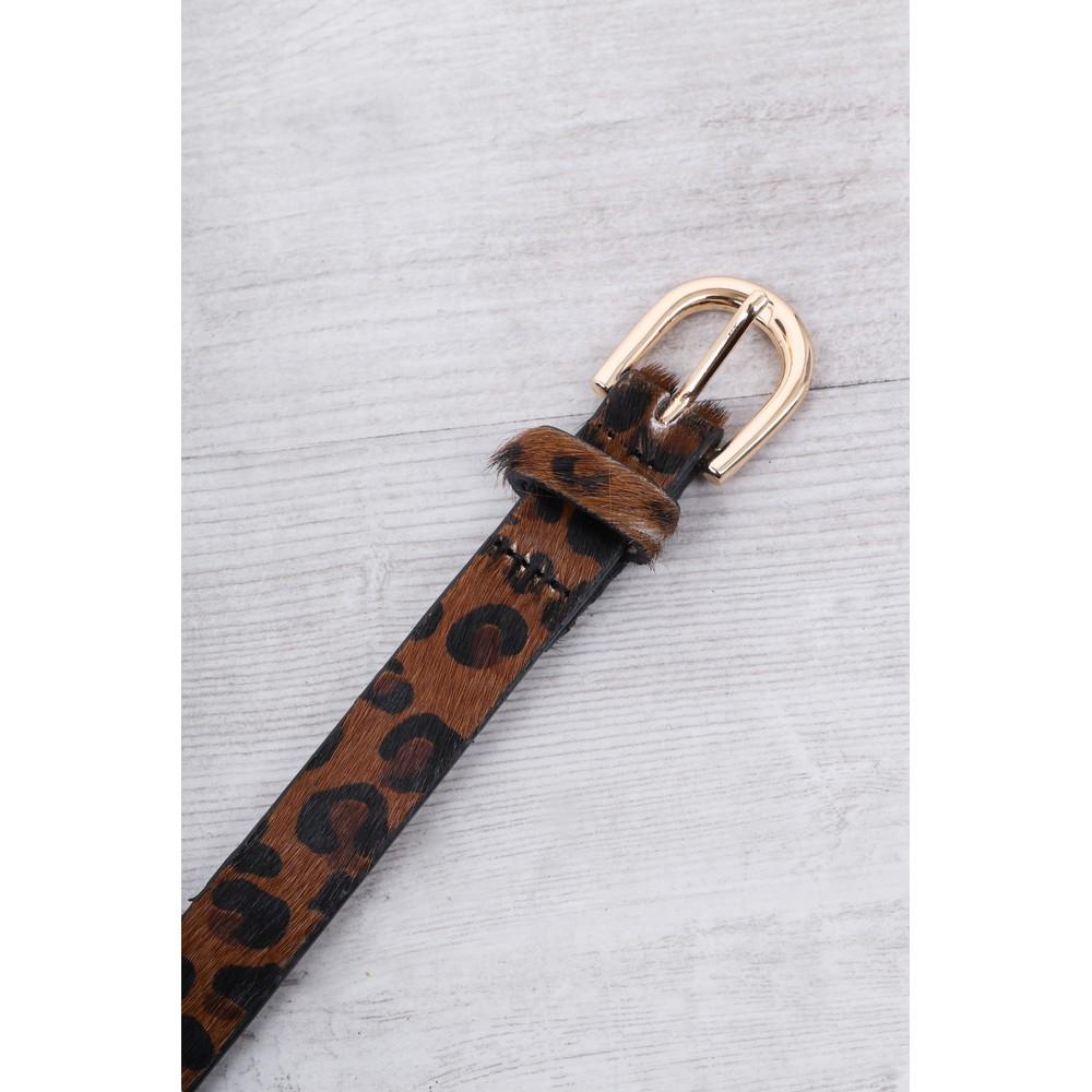 Gemini Label Accessories Zimba Narrow Belt Natural Leopard