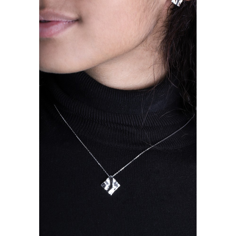 Ania Haie Crush Square Necklace Silver