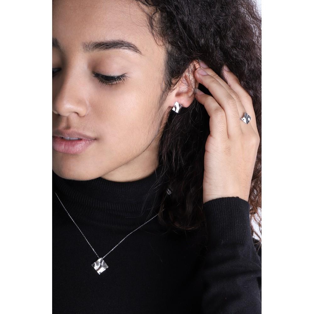 Ania Haie Crush Mini Square Stud Earrings Silver