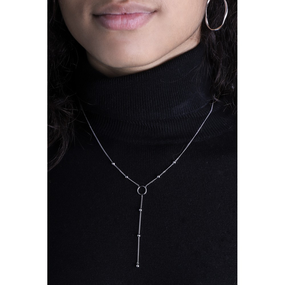 Ania Haie Modern Circle Y Necklace Silver