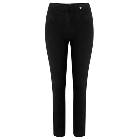Robell Rose Black Stretch Faux Suede Trouser - Black
