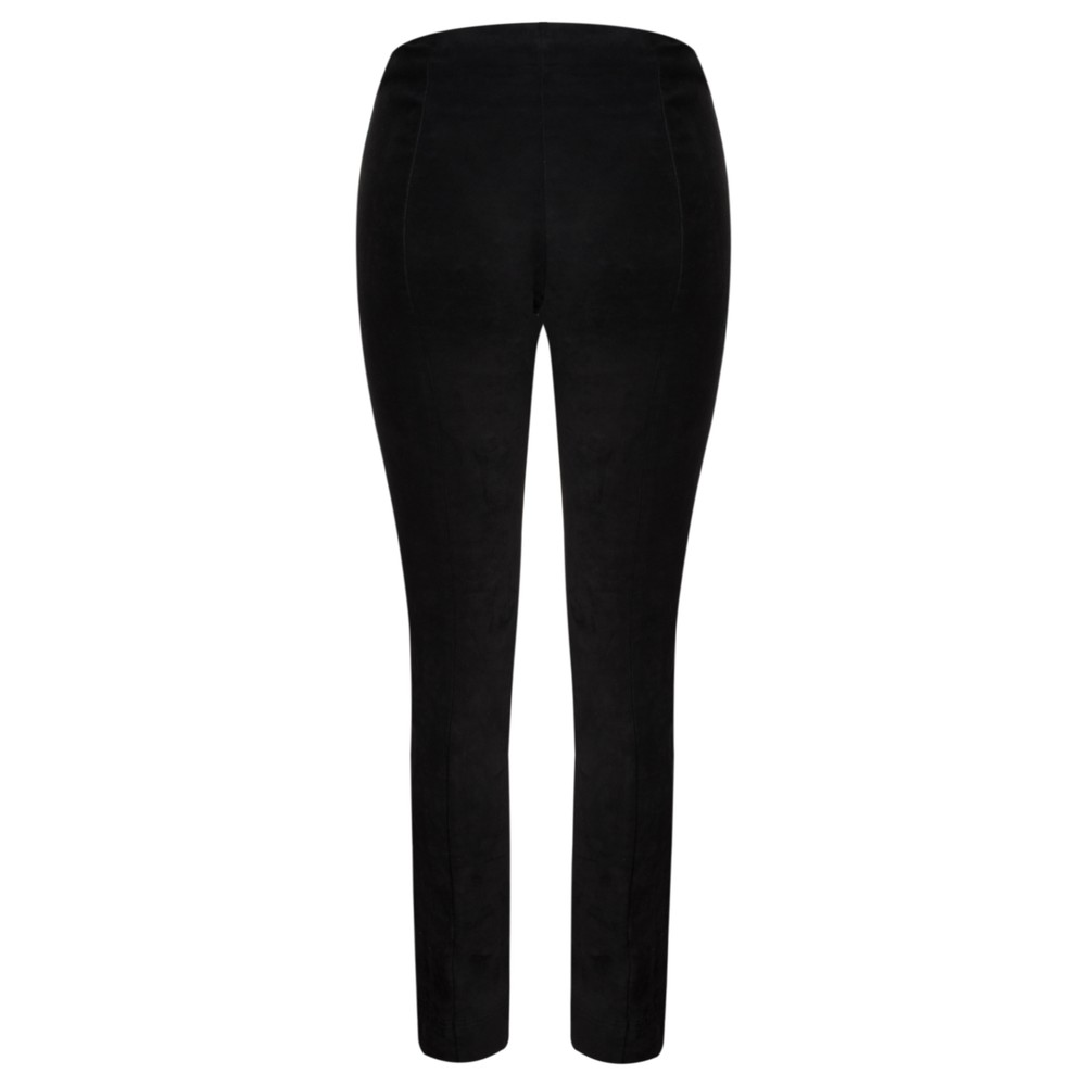 Robell Rose Black Stretch Faux Suede Trouser Black