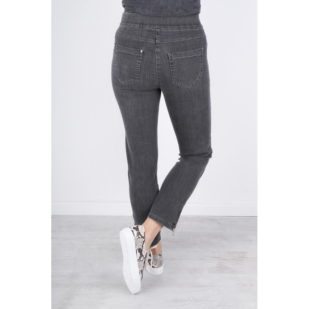 Robell Nena Grey Washed Denim Ankle Zip Cropped Jeans Grey
