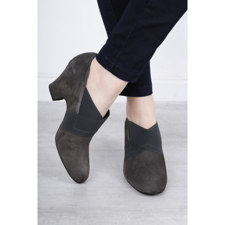 Gemini Label Shoes Bepra Anthracite Suede Crossover Elastic Shoe - Grey