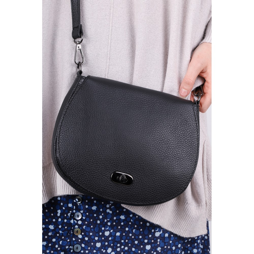 Gemini Label Bags Amber Leather Shoulder bag Black