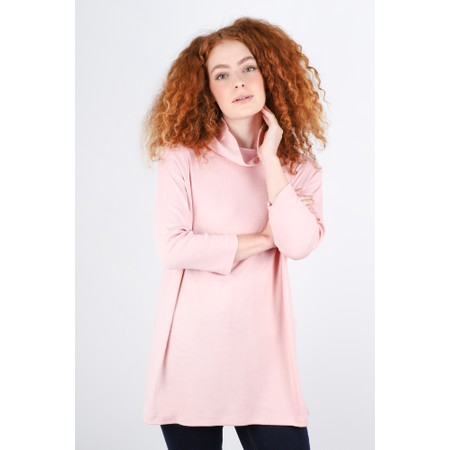 BY BASICS Clara Easyfit Organic Cotton Roll Neck Top - Pink