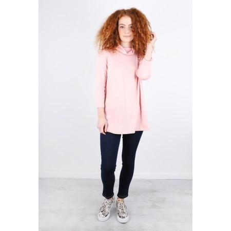 BY BASICS Clara Easyfit Organic Cotton Roll Neck Top - Pink