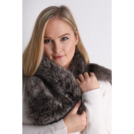 Helen Moore Lady Grey Faux Fur Asymmetric Scarf - Grey