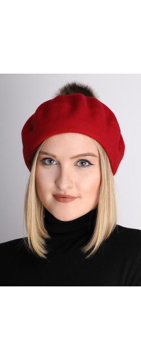 Helen Moore Pom Pom Faux Fur Beret Red/Ocelot