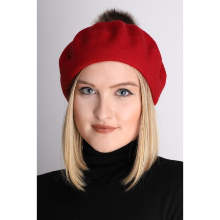 Helen Moore Pom Pom Faux Fur Beret - Multicoloured