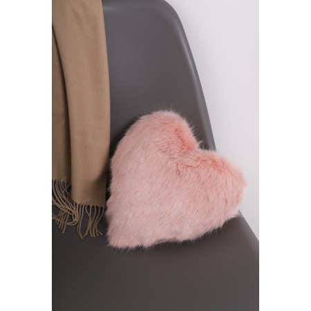 Helen Moore Heart Faux Fur Cushion  - Pink