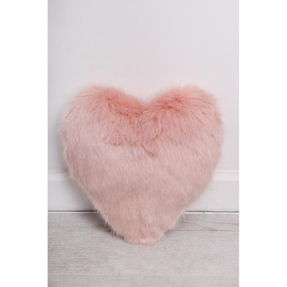 Helen Moore Heart Faux Fur Cushion  Dusky Pink