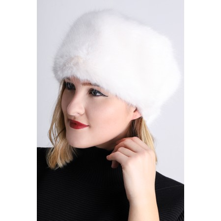 Helen Moore Pillbox Faux Fur Hat - White