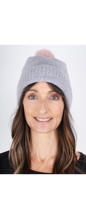 Helen Moore Cashmere Faux Fur Pom Pom Beanie Mid Grey/Dusky Pink