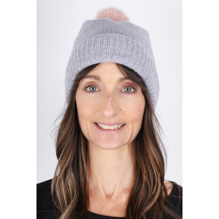 Helen Moore Cashmere Faux Fur Pom Pom Beanie - Multicoloured