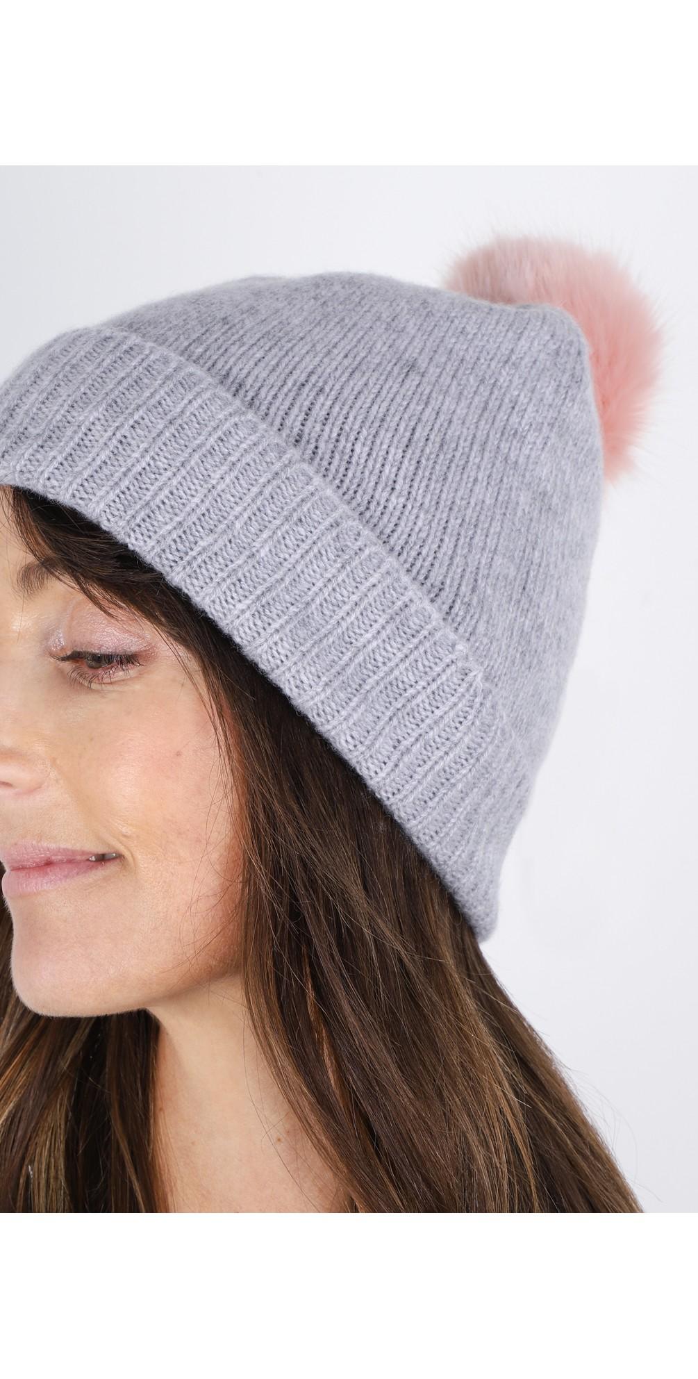 Cashmere Faux Fur Pom Pom Beanie main image