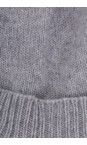 Helen Moore Mid Grey/Dusky Pink Cashmere Faux Fur Pom Pom Beanie
