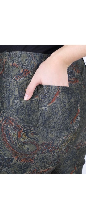 Robell Bella Paisley Print Trouser Khaki 88