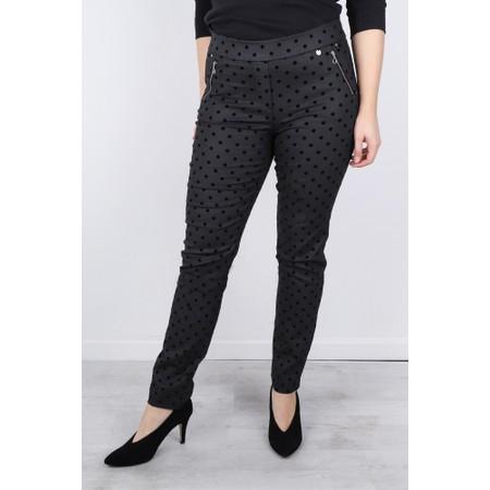 Robell  Nena 78cm Faux Leather Spot Trouser - Black