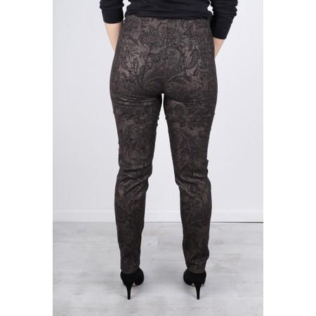 Robell  Bella 78cm Paisley Jacquard Trouser - Black