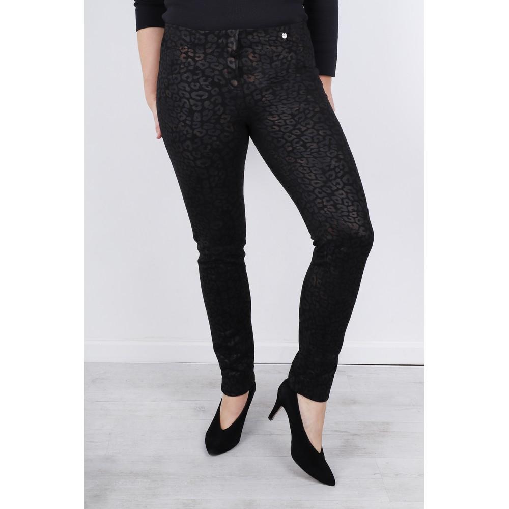 Robell Rose Animal Shadow Print Trouser Black 90