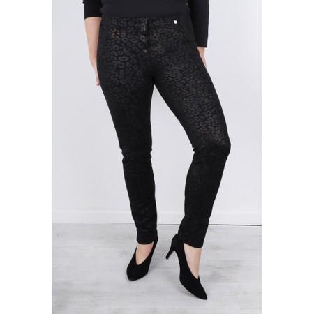 Robell  Rose Animal Shadow Print Trouser - Black