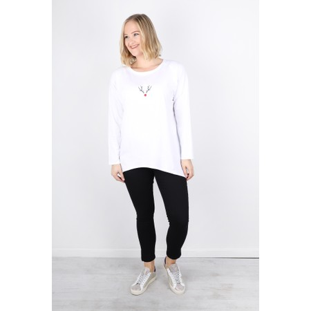 Chalk Robyn Reindeer Top - White