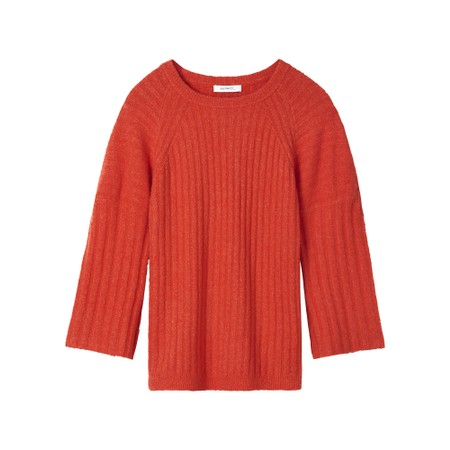 Sandwich Outlet  Fluted Sleeve Rib Knit Jumper - Pink