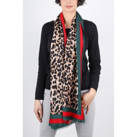 Gemini Label  Mio Large Leopard Print Scarf - Brown
