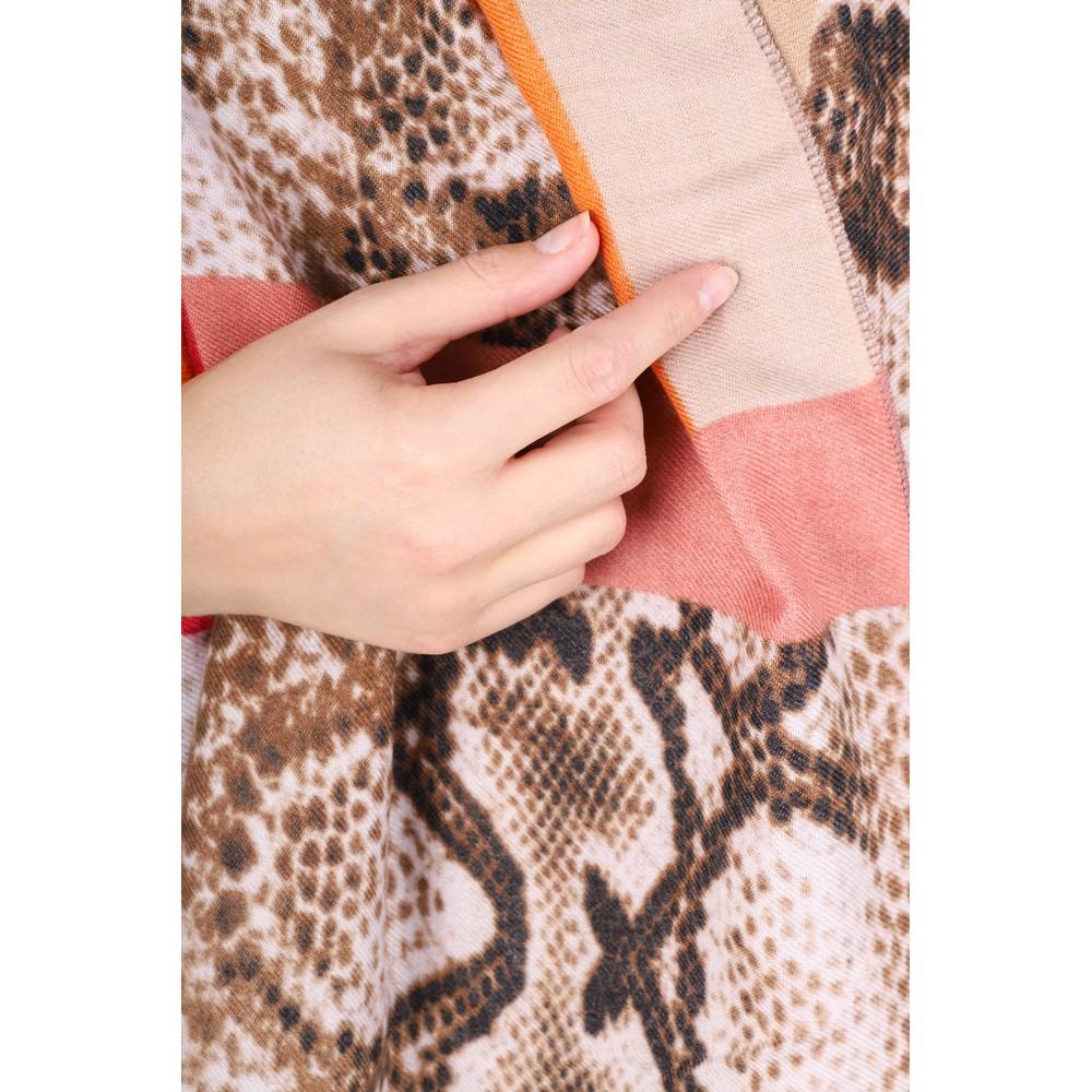 Gemini Label Accessories Miyu Patched Animal Print Scarf Orange