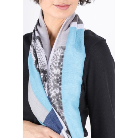 Gemini Label  Miyu Patched Animal Print Scarf - Blue
