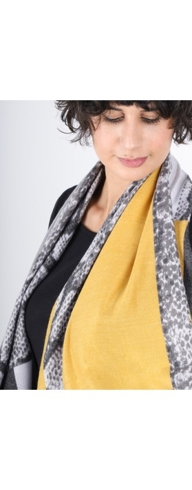 Gemini Label  Miyu Patched Animal Print Scarf Mustard