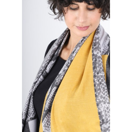 Gemini Label  Miyu Patched Animal Print Scarf - Yellow