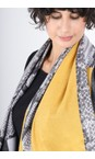 Gemini Label  Mustard Miyu Patched Animal Print Scarf