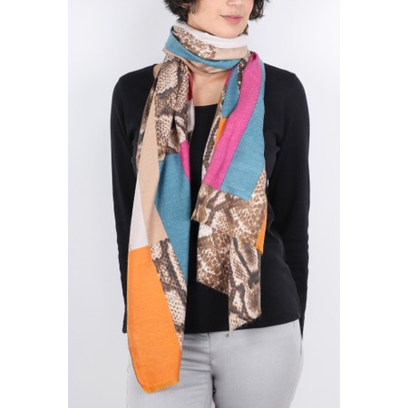 Gemini Label  Miyu Patched Animal Print Scarf - Pink