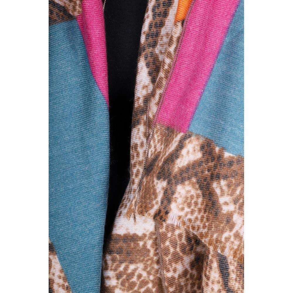 Gemini Label Accessories Miyu Patched Animal Print Scarf Fuchsia