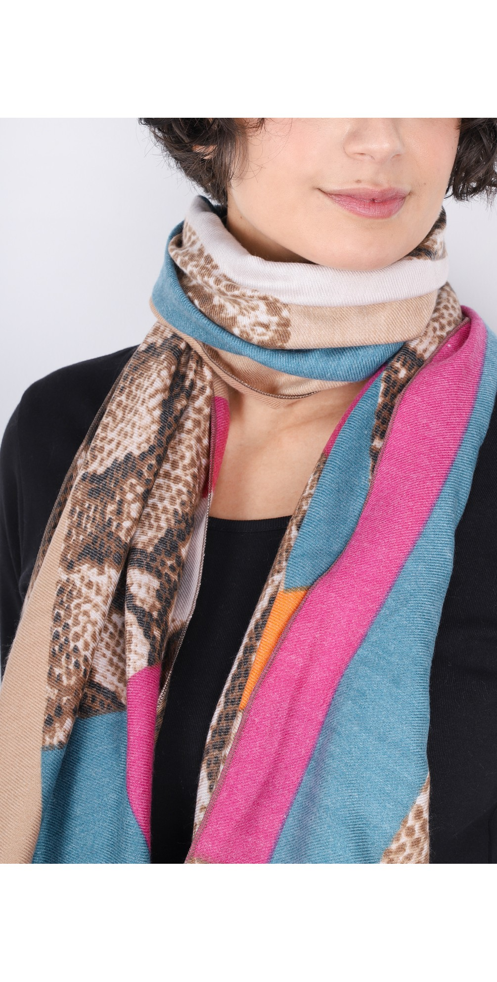 Miyu Patched Animal Print Scarf main image