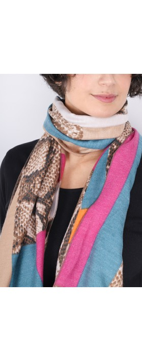 Gemini Label  Miyu Patched Animal Print Scarf Fuchsia