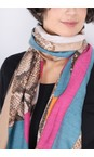 Gemini Label  Fuchsia Miyu Patched Animal Print Scarf