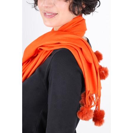 Gemini Label  Penny Pom Shawl Scarf - Orange